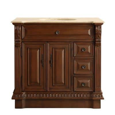 38 in. W x 22 in. D Vanity in English Chestnut with Stone Vanity Top in Travertine with White Basin