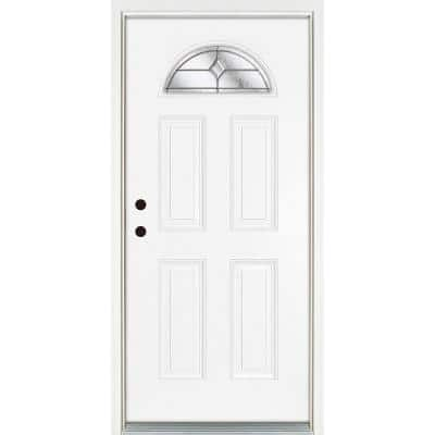 32 in. x 80 in. Right-Hand Inswing 1/4 Fan Lite Valentia Decorative Glass White Finished Fiberglass Prehung Front Door