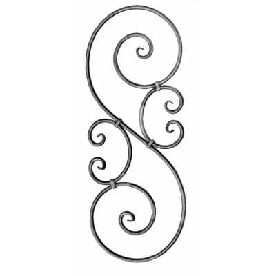 35-7/16 in. x 13-13/32 in. x 9/16 in. Wrought Iron Round Bar with Forged Ends Raw Forged S-Scroll