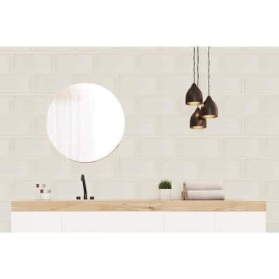 Ombre Ivory 5.98 in. x 12.01 in. Glossy Subway Ceramic Wall Tile (8.0 sq. ft./Case)