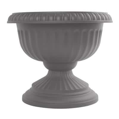 Grecian 12 in. Charcoal Plastic Urn Planter