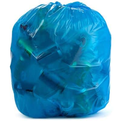 61 in. x 68 in. 95 Gal. Blue Heavy-Duty Trash Bags (Pack of 32) 2 mil for Industrial Home and Recycling Use