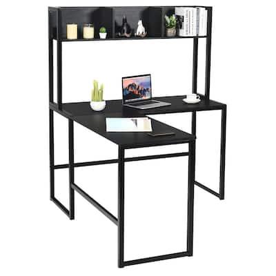 L-Shaped 55 in. Black Corner Computer Desk with Hutch