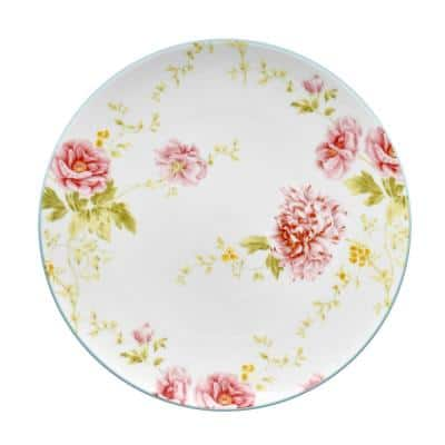 Peony Pageant White Bone China Accent Plate 9 in.
