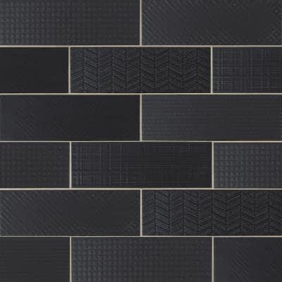 Citylights Ink 3D Mix 4 in. x 12 in. Glossy Ceramic Black Textured Subway Tile (9.9 sq. ft./Case )