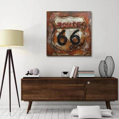"""32 in. x 32 in. """"Route 66"""" Mixed Media Iron Hand Painted Dimensional Wall Art"""