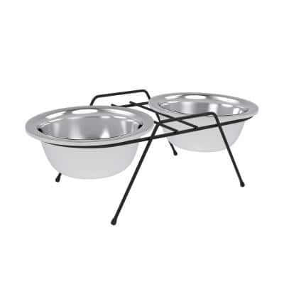 40 oz. Stainless Steel Elevated Dog/Cat Bowls in Silver