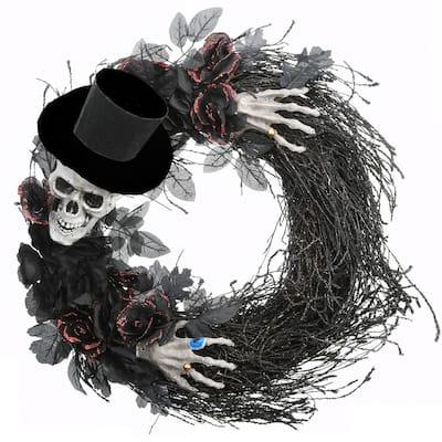 21 in. Halloween Top Hat Skeleton Wreath