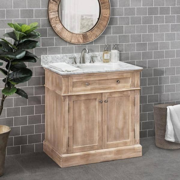Sunjoy Blaire Brown 36 In W X 22 05 In D X 35 75 In H Modern Rustic Bathroom Vanity With Marble Vanity Top And Single Basin B301008500 The Home Depot