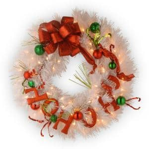 24 in. Battery Operated Decorative Collection Ho Ho Ho Wreath with Warm White LED Lights