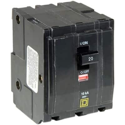 QO 20 Amp 3-Pole Plug-In Circuit Breaker