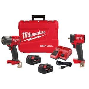 M18 FUEL GEN-2 18-Volt Lithium-Ion Mid Torque & Compact Brushless Cordless 3/8 in. Impact Wrench with Friction Ring Kit