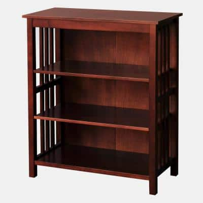 Hollydale 36 in. Chestnut Wood 3-shelf Standard Bookcase with Adjustable Shelves