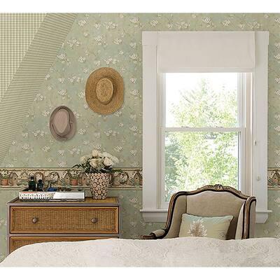 Dixie Aqua Floral Trail Aqua Wallpaper Sample