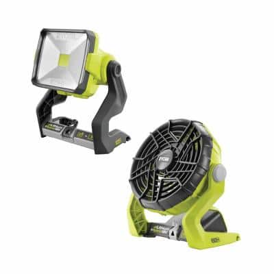 18-Volt ONE+ Lithium-Ion Cordless Hybrid 20-Watt LED Work Light and Hybrid Portable Fan (Tools Only)