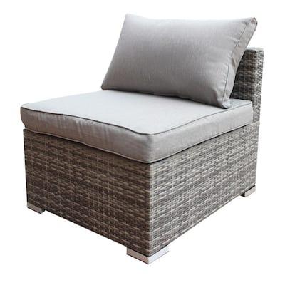 PE Wicker Outdoor Patio Combination Sofa Furniture with Gray Cushion