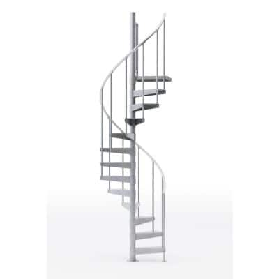 Reroute Galvanized Exterior 42in Diameter, Fits Height 127.5in - 142.5in, 1 36in Tall Platform Rail Spiral Staircase Kit