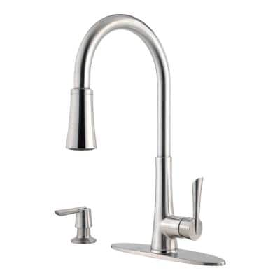 Mystique Single-Handle Pull-Down Sprayer Kitchen Faucet with Soap Dispenser in Stainless Steel
