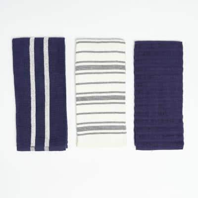 Navy Multi Stripe 100% Cotton Kitchen Towels (3 Piece Set)