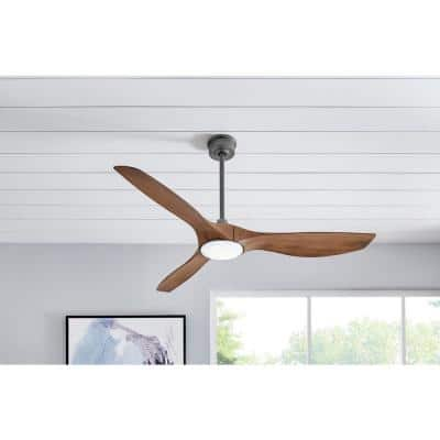 Marlon 66 in. Integrated LED Indoor Natural Iron Ceiling Fan with Light and Remote Control