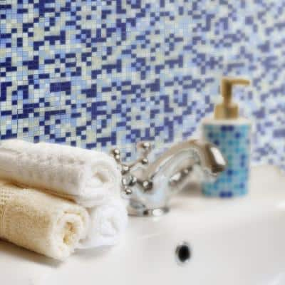 Galaxy Antarctica Blue Square Mosaic 0.3125 in. x 0.3125 in. Iridescent Glass Wall Tile (0.98 Sq. ft.)