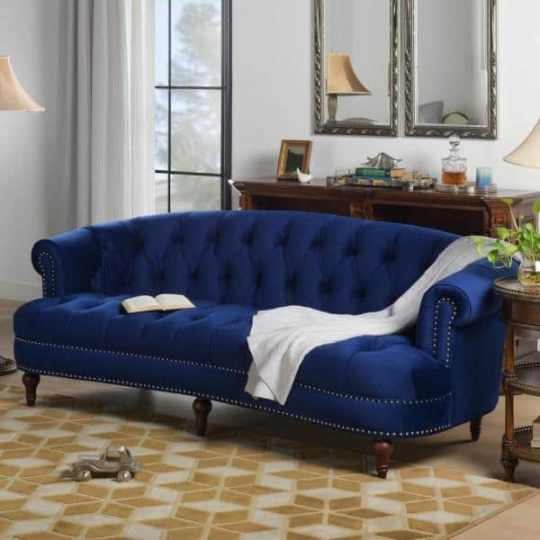 Jennifer Taylor La Rosa 85 In Navy Blue Velvet 3 Seater Chesterfield Sofa With Nailheads 2525 3 859 The Home Depot