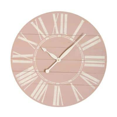 36 in. Distressed Farmhouse Pink Wall Clock