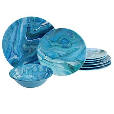Fluidity 12-Piece Seasonal Multicolored Melamine Dinnerware Set (Service for 4)
