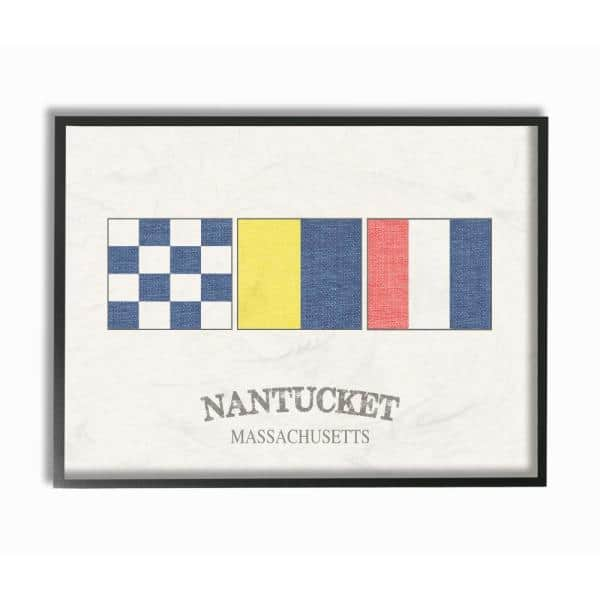 Stupell Industries 11 In X 14 In Nantucket Nautical Flags By Daphne Polselli Wood Framed Wall Art Cw 1271 Fr 11x14 The Home Depot