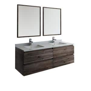 Formosa 60 in. Modern Double Wall Hung Vanity in Warm Gray with Quartz Stone Vanity Top in White w/ White Basins, Mirror