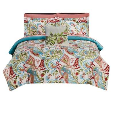 Caen 8-Piece Multicolor Printed Reversible Polyester Queen Size Comforter Set