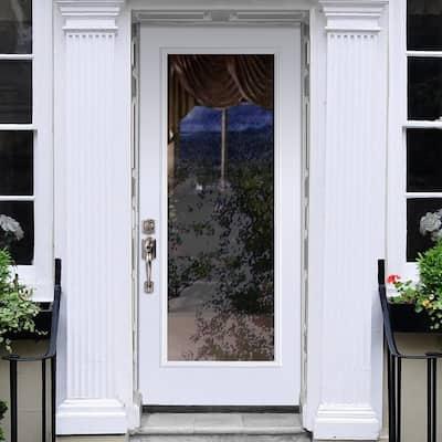 Premium Full Lite Primed Steel Prehung Front Door with Brickmold