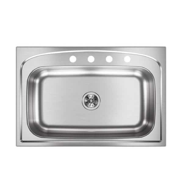 Elkay Pergola Drop In Stainless Steel 33 In 4 Hole Single Bowl Kitchen Sink Hdsb332294 The Home Depot