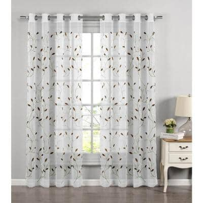 Sage Leaf Embroidered Grommet Sheer Curtain - 54 in. W x 84 in. L