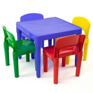 Playtime 5-Piece Primary Colors Kids Plastic Table and Chair Set