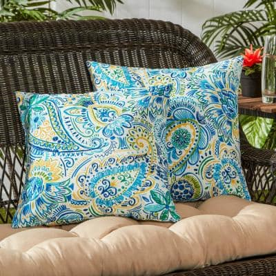 Baltic Paisley Square Outdoor Throw Pillow (2-Pack)