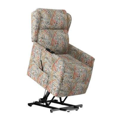 Classic Multi Coral Paisley Wingback Power Recline and Lift Chair