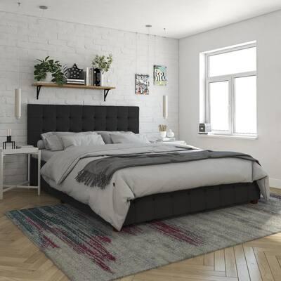 Elizabeth Black Velvet Upholstered Queen Size Bed with Storage