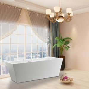 Tarbes 59 in. Acrylic Flatbottom Freestanding Bathtub in White