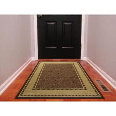 Ottohome Collection 3 ft. x 5 ft. Contemporary Bordered Chocolate Area Rug with Non-Slip Rubber Back