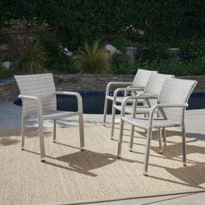 Lucian Chateau Grey Stackable Wicker Outdoor Dining Chair (4-Pack)