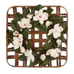24 in. Dia Magnolia Wreath with 24 in. L Bamboo Tobacco Basket