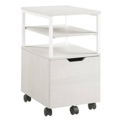 Contempo White Oak Mobile Cart with Campanula White Metal