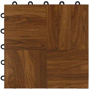 Max Tile 12 in. W x 12 in. L Dark Oak Waterproof Interlocking Modular Basement Vinyl Floor Tiles (20 sq. ft. 20-Pack)