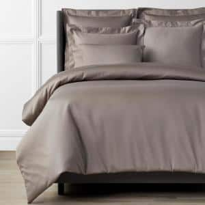 Legends Hotel Mocha 450-Thread Count Wrinkle-Free Supima Cotton Sateen Queen Duvet Cover