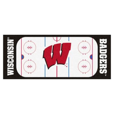 NCAA - University of Wisconsin White 3 ft. x 6 ft. Indoor Hockey Rink Runner Rug
