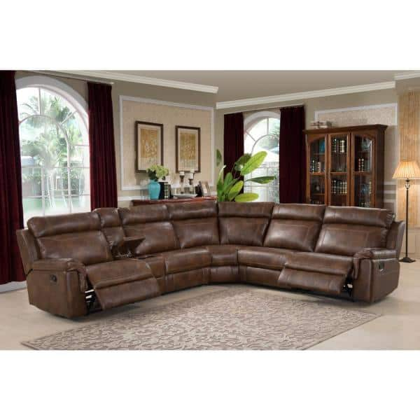 Ac Pacific Clark 6 Piece Brown Faux, Curved Sectional Sofa Leather