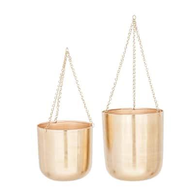 10 in. x 11 in., 9 in. x 9 in. Round Indoor/Outdoor Iron Gold Metal Hanging Planters (Set of 2)