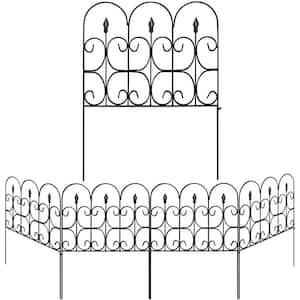 32 in. H x 24 in. Black Steel Garden Fence Panel Rustproof Decorative Garden Fence (5-Pack)