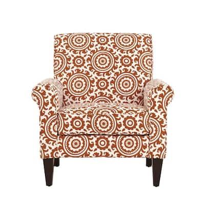Jean Orange and Cream Medallion Arm Chair